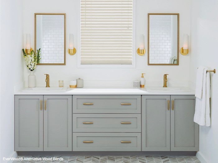 A beautiful double sink and countertop.